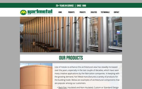 Screenshot of Products Page yarlmetal.com - PRODUCTS :: Yarlmetal Fabrications Inc. - captured Nov. 12, 2018