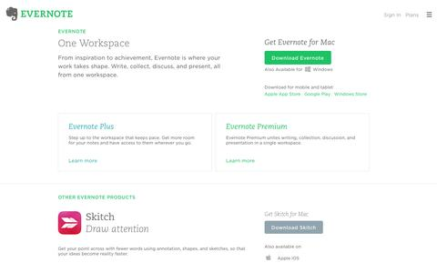 Screenshot of Products Page evernote.com - Evernote Products | Evernote - captured Aug. 10, 2016