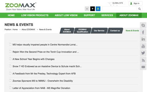 Screenshot of Press Page zoomax.co - News & Events - Zoomax - captured Sept. 30, 2016