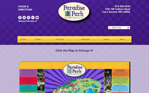 Screenshot of Maps & Directions Page paradise-park.com - Paradise Park Map - captured May 12, 2017