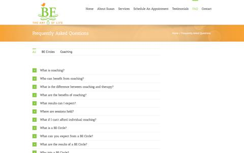 Screenshot of FAQ Page betheartoflife.com - BE The Art of Life / Susan Dahl-Robertson, M.A. / FAQ - captured July 31, 2018