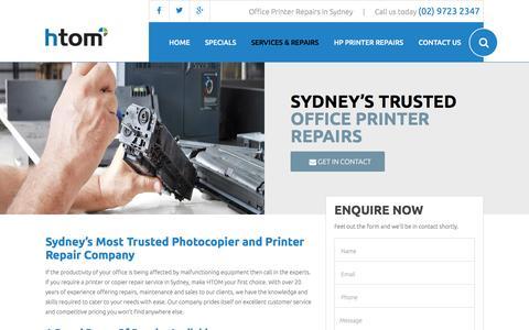 Screenshot of sydney-printerrepairs.com.au - Photocopier / Copier Service & Repairs Company, Sydney - captured April 3, 2016