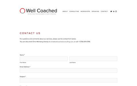 Screenshot of Contact Page wellcoachedconsulting.com - Contact — Well Coached - captured Nov. 15, 2017