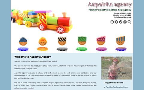 Screenshot of Home Page aupairka.co.uk - Aupair and Mothers Help agency in London - Aupairka Agency - captured July 26, 2016