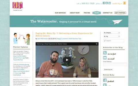 Screenshot of Blog callruby.com - Ruby Receptionists Blog - The Watercooler   Virtual Receptionist Blog - captured Feb. 25, 2016