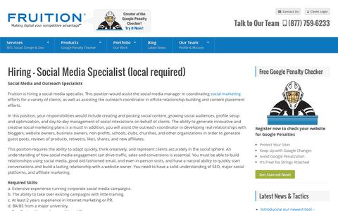 Screenshot of Jobs Page fruition.net - Hiring - Social Media Specialist (local required) - FRUITION - captured Oct. 10, 2014