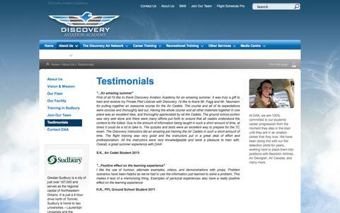 Screenshot of Testimonials Page flydaa.ca - Discovery Aviation Academy - Testimonials - captured Oct. 5, 2014