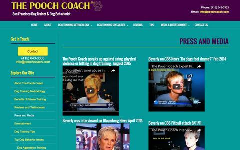 Screenshot of Press Page poochcoach.com - Press and Media - captured Dec. 22, 2016