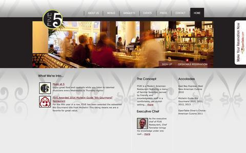 Screenshot of Home Page five-berkeley.com - FIVE Restaurant | a Modern American Restaurant & Bar | Berkeley, CA - captured Oct. 5, 2014