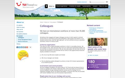 Screenshot of Team Page tuitravelplc.com - Colleagues | TUI Travel PLC - captured Sept. 24, 2014