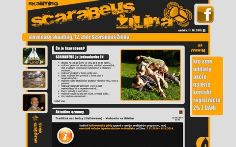Screenshot of Home Page 12zbor.sk - Slovenský skauting, 12. zbor Scarabeus Žilina - captured Oct. 10, 2015
