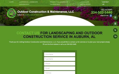 Screenshot of Contact Page out1door.com - company contact - Auburn, AL - Outdoor Construction & Maintenance - captured Nov. 30, 2016