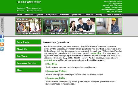 Screenshot of FAQ Page fhsgroup.net - Houck Seward Group - Amherst, New York 14226 - captured Oct. 27, 2014