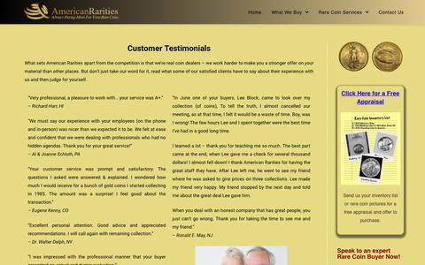 Screenshot of Testimonials Page americanrarities.com - Customer Testimonials – American Rarities - captured Oct. 24, 2018