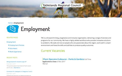 Screenshot of Jobs Page trc.qld.gov.au - Employment - TRC - Tablelands Regional Council - captured Nov. 2, 2017
