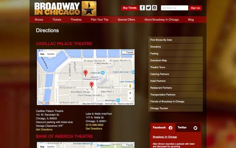 Screenshot of Maps & Directions Page broadwayinchicago.com - Directions | Broadway in Chicago - captured Jan. 7, 2016