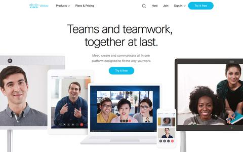 Screenshot of Home Page webex.com - Cisco Webex Meetings | Video Conferencing and Group Messaging - captured April 19, 2018