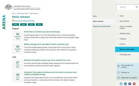 Screenshot of Press Page arena.gov.au - Media releases - Australian Renewable Energy Agency | Australian Renewable Energy Agency - captured Sept. 3, 2016