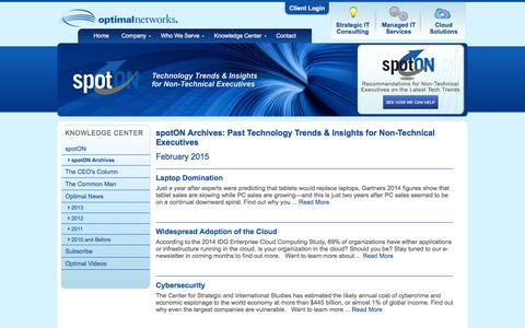 Screenshot of optimalnetworks.com - spotON Archives - captured March 20, 2016