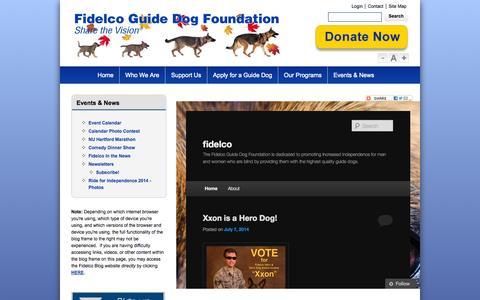 Screenshot of Blog fidelco.org - News - Blog Frame Page - Fidelco Guide Dog Foundation, Inc. - captured Oct. 5, 2014