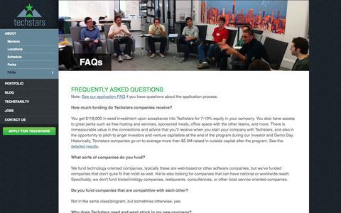 Screenshot of FAQ Page techstars.com - FAQs - Techstars - captured Sept. 13, 2014