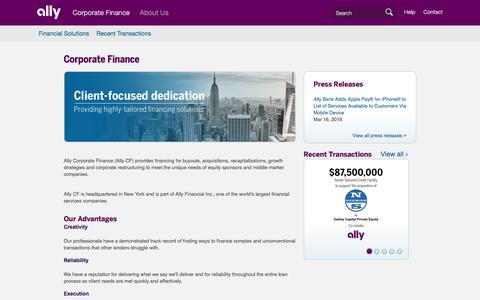 Ally Corporate Finance (Ally CF)   Ally Financial