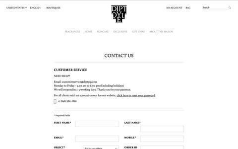 Screenshot of Contact Page diptyqueparis.com - Contact Us | Diptyque Paris - captured March 26, 2019