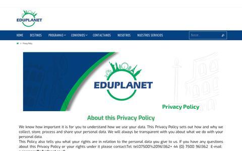Screenshot of Privacy Page eduplanet.co.uk - Privacy Policy – EduPlanet – Educacion internacional - captured Nov. 10, 2018