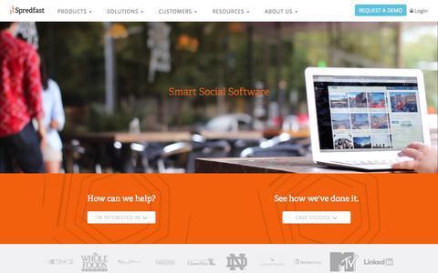 Screenshot of Home Page spredfast.com - Social Media Experience Management Software Platform | Spredfast - captured Oct. 30, 2015
