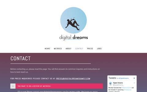 Screenshot of Contact Page digitaldreamsgames.com - Digital Dreams |   Contact - captured Oct. 12, 2017