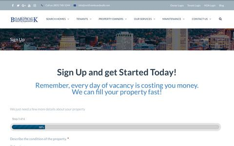 Screenshot of Signup Page bwprentals.com - Sign Up | Boardwalk Property Management - captured Oct. 6, 2018