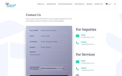 Screenshot of Contact Page raqtan.com - Contact Us - Raqtan - captured Dec. 21, 2018