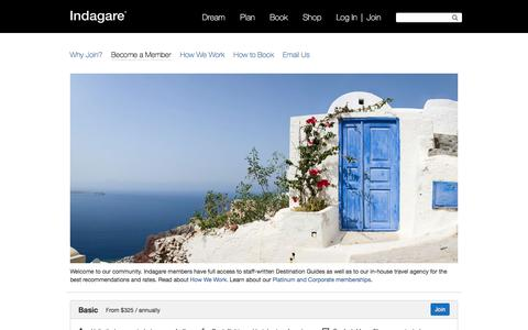 Screenshot of Signup Page indagare.com - Become a Member - Indagare - captured May 15, 2016