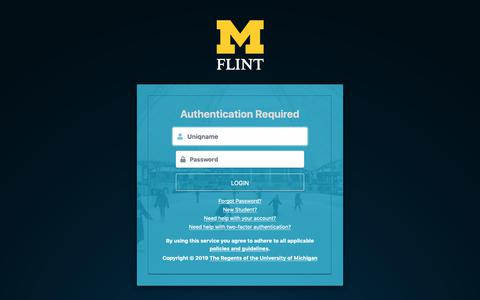 Screenshot of Login Page umflint.edu - Weblogin   University of Michigan-Flint - captured Feb. 21, 2019