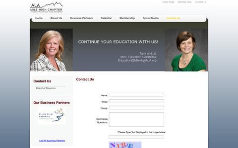 Screenshot of Contact Page milehighala.com - Mile High Chapter ALA - Contact Us - captured Nov. 5, 2014