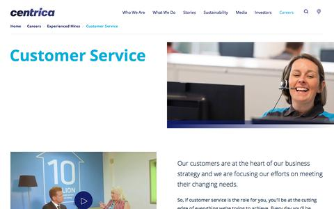 Screenshot of Support Page centrica.com - Customer Service | Centrica plc - captured Sept. 15, 2019