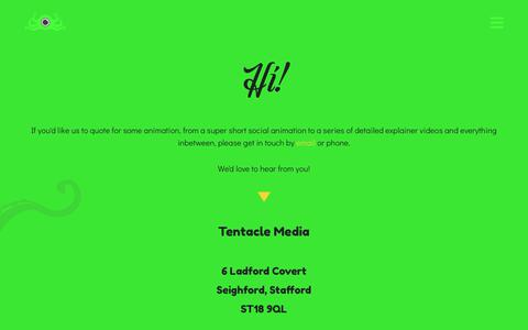 Screenshot of Contact Page tentaclemedia.co.uk - Contact - Tentacle Media - Animation Company West Midlands, UK - captured Oct. 20, 2018