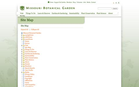 Screenshot of Site Map Page missouribotanicalgarden.org - Site Map - captured Sept. 22, 2014