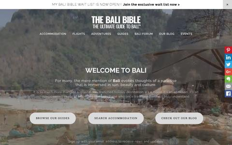 Screenshot of Home Page thebalibible.com - The Bali Bible - Welcome to The Bali Bible - captured Feb. 24, 2016