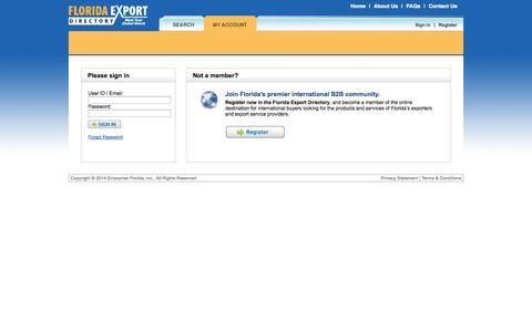 Screenshot of Login Page floridaexportdirectory.com - Florida Export Directory - captured Oct. 31, 2014