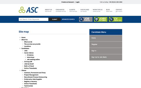 Screenshot of Site Map Page asc-connections.com - Working with you throughout your career | ASC Connections - captured Dec. 23, 2015
