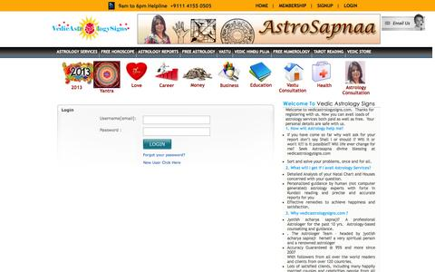 Screenshot of Signup Page Login Page vedicastrologysigns.com - Astrology | Horoscopes | Free Astrology | Vedic Astrology Signs - captured Oct. 23, 2014