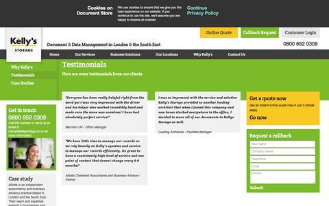 Screenshot of Testimonials Page kellystorage.co.uk - Testimonials - captured Oct. 6, 2014