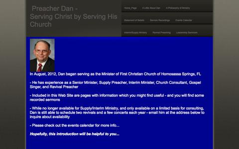 Screenshot of Home Page preacherdan.info - Home_Page - captured Oct. 7, 2014