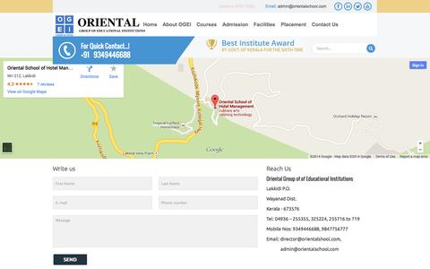 Screenshot of Contact Page orientalschool.com - Colleges with Top Placements in India  | Oriental School - captured Oct. 7, 2014