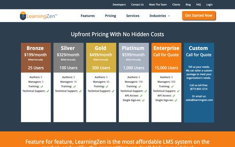 Screenshot of Pricing Page learningzen.com - Affordable Learning Management System | LearningZen - captured Sept. 27, 2018