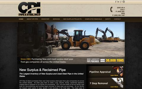 Screenshot of Home Page cpipipe.com - Pipeline Removal Companies Oil and Gas Industry | CPI Pipe - captured Feb. 11, 2019