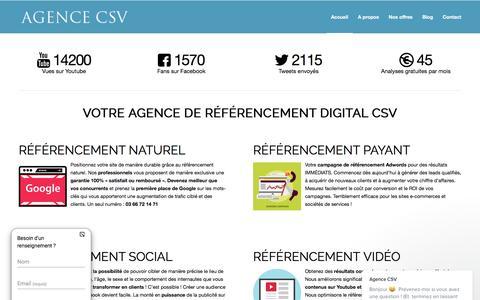 Screenshot of Home Page agence-csv.com - Agence CSV : Votre Agence De Référencement Digital - captured May 29, 2017