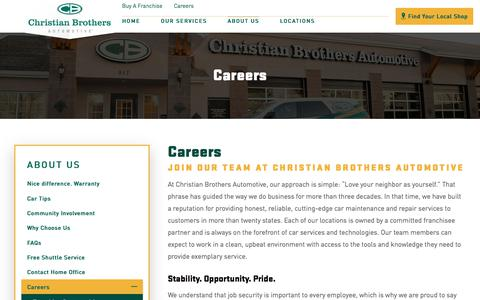 Screenshot of Jobs Page cbac.com - Careers | Christian Brothers Automotive - captured Oct. 25, 2017