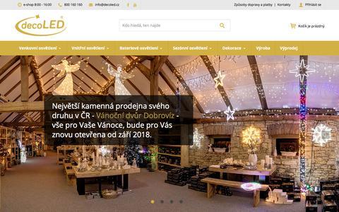 Screenshot of Home Page decoled.cz - decoLED.cz - specialisté na vánoční osvětlení - captured Aug. 8, 2018
